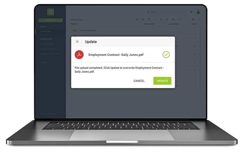 push update to recipients secure file sharing service FileString