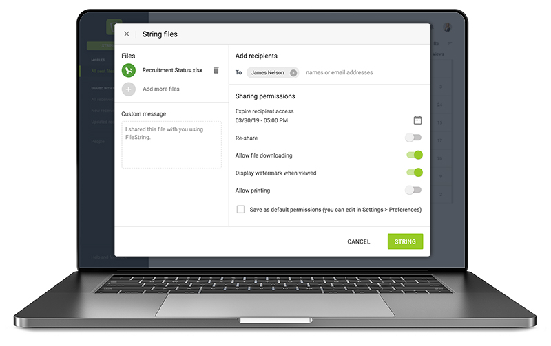 secure file sharing service protect your file while sharing FileString